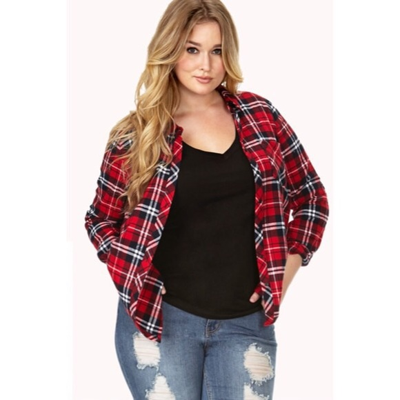 361a5065600 Forever 21 Tops - FOREVER 21+ Plus Size Plaid Shirt